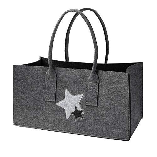 luxdag Einkaufstasche aus Filz 50x26x26cm (BxTxH) mit Sternen grau-hellgrau (Farbe wählbar) | Tasche mit Henkel, Einkaufskorb faltbar