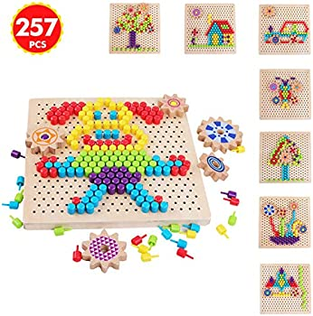 Qzm Toy 250-Pieces Wooden Peg Board Puzzle Mosaic Pegboard Game