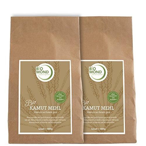 BIO Kamut Urweizen Vollkornmehl BIOMOND / 2 x 1.000 g Vorteilspack / Khorasan-Weizen aus Kanada / frisch mittelfein gemahlen / Rohkostqualität