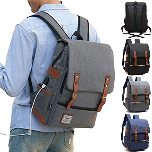 SA PRODUCTS Vintage Backpack – Elegant Laptop Bag with USB Port – Lightweight Rucksacks For Men – Perfect Daypack for School, Collage Students – Stylish Travel Bag – 36- 55 L Capacity – Nylon (Navy)