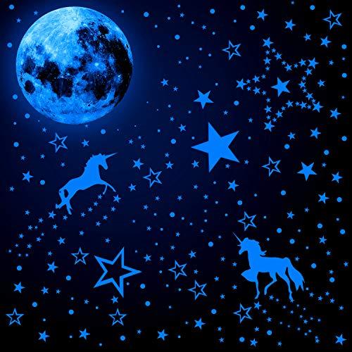 466 Pegatinas de Pared de Unicornio que Brillan en Oscuridad con Pegatinas Luminosas de Lunares y Estrellas Pegatinas de Techo Fluorescentes para Decoración de Habitación Bebé (Azul Fluorescente)
