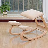 Ergonomic Kneeling Chair | Rocking Posture Correcting Wooden Stool for Office and Home