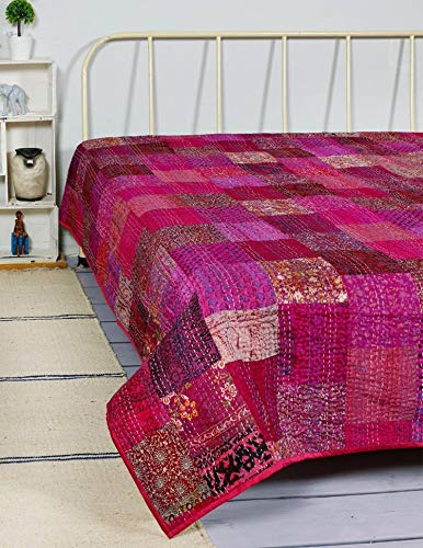 Indian Patola Silk Patch Work Kantha Quilt Kantha Blanket Bedspread Twin Quilt Throw Bedding Bed Cover Vintage Kantha Quilt