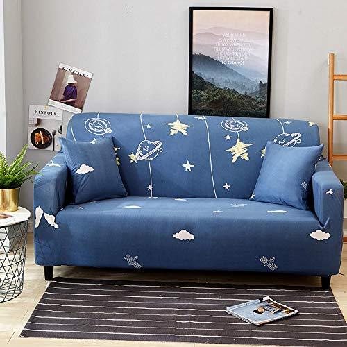 Funda Sofa Elastica 2 Plazas Protector para Sofás Antideslizante Funda Longue Chaise Cubre Sofa de Poliéster Decorativas Cubierta para sofá Ajustables con 1 Funda de Cojín - Estrella Azul