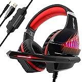Cuffie Gaming per PS4, PS5, Xbox One, con LED, Cuffie da Gaming con microfono e Bass stereo, tasto Microfono Mute, Cuffie da Gaming con 3.5mm Jack per PC/MAC
