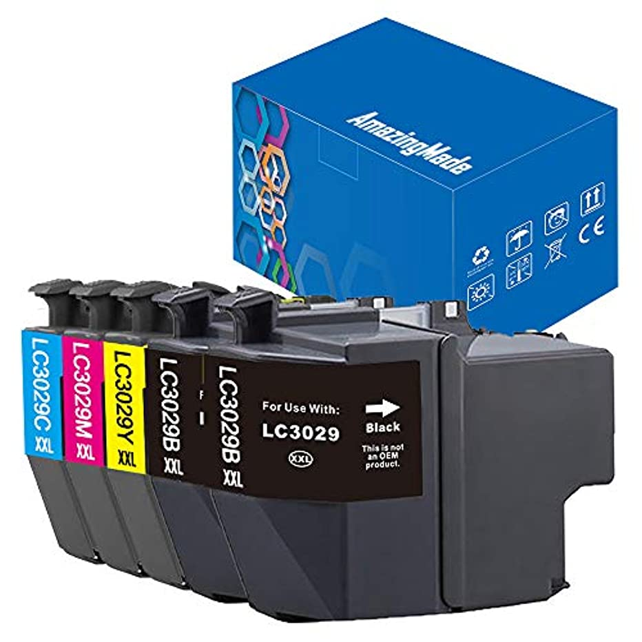 LC3029 Compatible Ink Cartridge Replacement for 3029 XXL Ink Cartridge Works with MFC-J5830DW MFC-J5830DWXL MFC-J5930DW MFC-J6535DW MFC-J6535DWXL MFC-J6935DW (2 Black 1 C/M/Y), 5-Pack AmazingMade