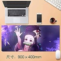 アニメKimetsuませんYaiba Nezuko Kamadoかわいい大型ゲーミングマウスパッドデスクマットロングノンスリップゴムステッチは、ノートパソコンのアニメ悪魔スレイヤーKimetsuんYaiba大型マウスパッドのための日本のアニメマウスパッドをエッジ (サイズ: 3mm)