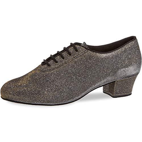 Diamant Damen Tanzschuhe/Trainerschuhe 093-034-509-A - Brokat Schwarz-Silber/Goldschimmer - 3,7 cm Cuban [UK 6,5]