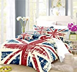 REALIN The Union Jack Duvet Cover Set The Union Jack Bedding Red White Blue Retro Bed Sets 2/3/4PCS Quilt Covers/Sheets/Pillow Shams,Twin/Full/Queen/King (D,Queen-228x228cm-3PCS)