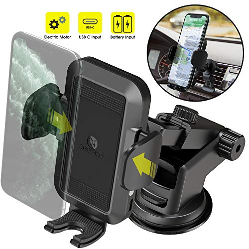 ZeeHoo Automatic Car Phone Mount,Electric Powered Auto Clamping Windshield Dash Air Vent Phone Holder,Compatible iPhone 11/Pro Max/X/XS Max/XR/8/7/6,Galaxy Note10/S10/S9/S8,Pixel,LG (Battery Powered)