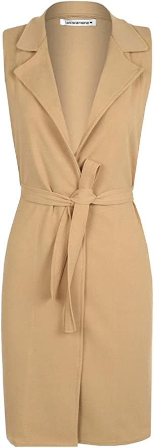 Womens Sleeveless Belted Crepe Cardigan Ladies Open Long Waistcoat Blazer Jacket