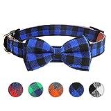 HAOPINSH Pajarita para perro, collar para gato con pajarita, hebilla ligera, collar para perros y gatos mascotas, suave, cómodo, ajustable, M azul