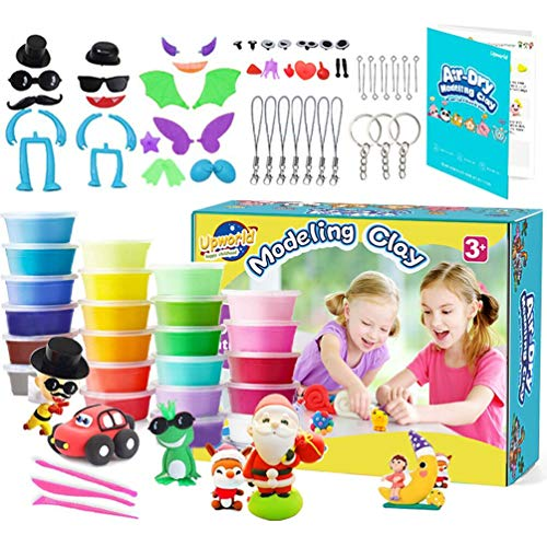 Jsvacva Air Dry Clay, 24 Colors Magic Clay Modeling Clay Kit with Modeling Tools, Animal Accessories, Manual and Storage Box Best Crafts Gift for Kids Age 3-12 year old