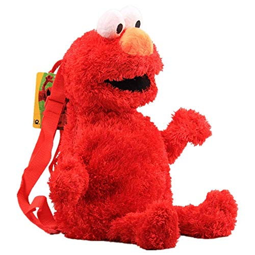 Leyue Anime Sesame Street Peluche Mochila Dibujos Animados Elmo Cookie Monster Big Bird Relleno Mochila 46 cm 18 Pulgadas Cool Schoolbag (3 PCS) (Color : Red)