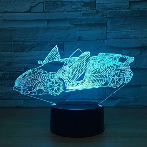 Ilusión Óptica 3D Led Luz Decoración Tabla Lámpara De Escritorio Coche Deportivo 7 Colores Cambio De Botón Táctil Y Ciclismo Regalo De Cumpleaños Para Decoración De Dormitorio