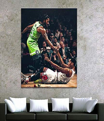 Cuadro de póster de jugador de baloncesto cuadro de arte de pared decoración de sala de estar pintura de pared Mural 50X75Cm sin marco