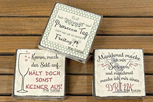 Bloominghome Servietten Drink 3er-Set Papierservietten 12 x 12 cm Cocktailservietten Sprüche