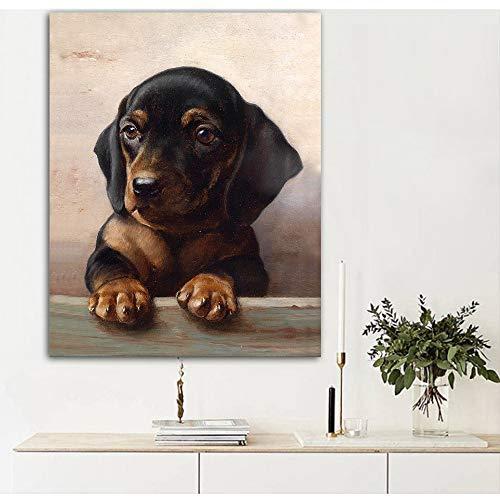 SDFSD Netter Hund Hund Wandkunst Gemälde Leinwanddruck Netter Welpe Tier Bild für Wohnzimmer Home Decor 50 * 65cm