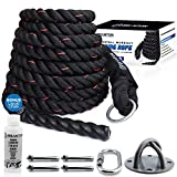 Branton Easy-Install Workout Climbing Rope - 25 feet Exercise Climbing Rope w/Anchor, Carabiner, Anchor Covers & Liquid Chalk - Safe &...