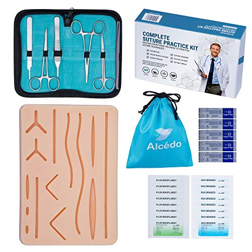 Alcedo Suture Practice Kit for Medical Students | Complete Kit (32 Pieces) Include Durable Large...