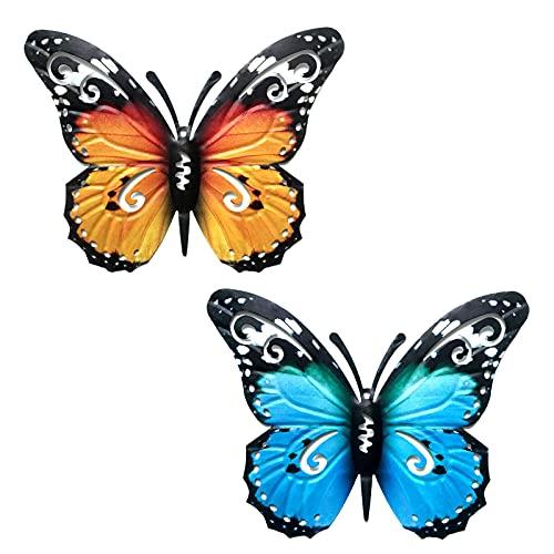 2 Pezzi Farfalla di Metallo Arte della Parete,Sculture da Parete a Forma di Farfalla 3D,Decorazione Farfalla da Appendere Per Casa Giardino Interni Esterni