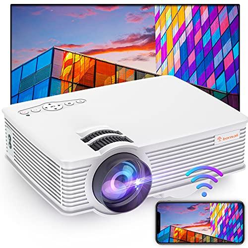Movie Beamer, tragbarer Mini 720p Projektor mit WLAN für das Heimkino für den Außenbereich mit unterstützten Lautsprechern 1080p Kompatibel mit TV-Stick, HDMI, USB, Laptop, DVD, TF / SD