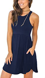 Unbranded Women s Sleeveless Loose Plain Dresses Casual Short Dress with  Pockets 185339135