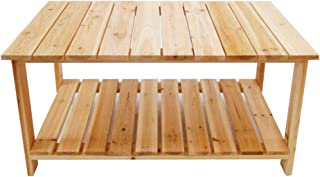 LOKATSE HOME Natural Outdoor Wood Coffee Storage Shelf, Adirondack Table