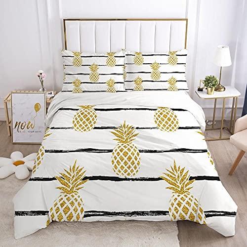 Påslakan Dubbel 3 delar Vändbar Enkel gul frukt ananas Tryckt sängkläder täckeöverdrag med dragkedja stängning 2 kuddfodral mjuk mikrofiber sängkläder 260x240cm