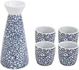 YWTT Juego de Sake japonés, 5 Piezas, Caja de Juego de Tazas de Sake de Hielo Azul, Tazas de cerámica de Textura pintoresca, para frío/Calor/Shochu/té, Familiares y ami