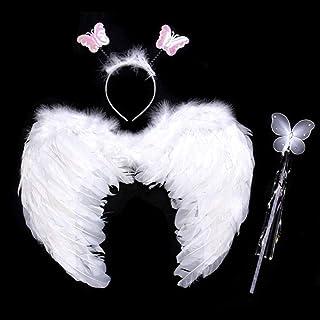 天使 コスプレ 天使の翼+天使の輪+ステッキ 3点セット子供 舞台出演 ハロウィン クリスマス パーティー コスチューム用小物 (C セット)