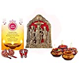 Collectible India Diwali Gift Combo - Ram Darbar Idol Showpiece - Ram Darbar Wall Hanging Statue - Set of 4 Matki Wax Diya Candles Tealight For Diwali – Shubh Labh Door Hanging Decoration Toran – Lakshmi Charan Paduka Sticker Feet - Diwali Greeting Card- Gift For Mother Father Sister Brother Friend office employees clients corporate