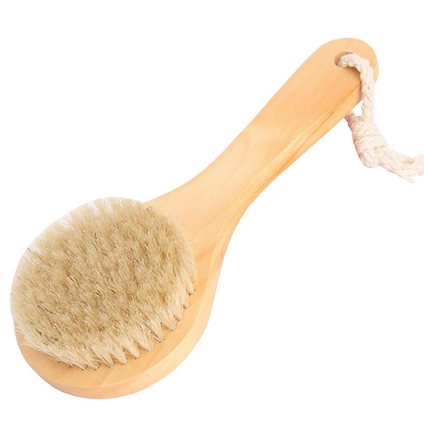 傷つきやすいオーストラリアアレルギーFoucome ボディブラシ ロング マッサージ 豚毛100% 長柄 角質除去 美肌効果 背中 最高品質 天然材 お風呂グッズ 毛穴洗浄 血行促進 イェロー S