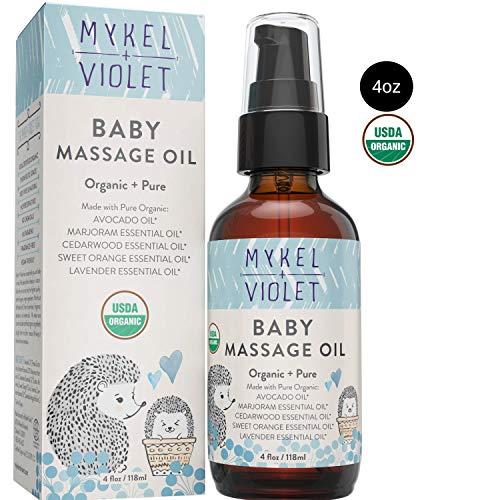 Mykel + Violet - 100% USDA Certified Organic Baby Massage Oil, Calming Blend, Moisturizes...