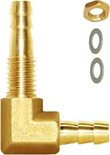 Joywayus 1/4''ID Hose Barb Thru-Bulk Head Hex 90 Degree L Right Angle Elbow Union Brass Fitting Water/Fuel/Air