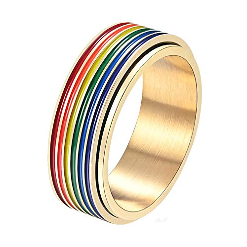 Nanafast 8mm Stainless Steel LGBT Pride Ring Rainbow Flag Enamel Gay Lesbians Wedding Band Spinner Ring for Men Women-Gold-9
