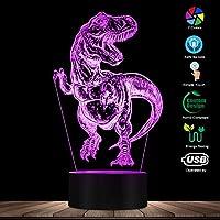 タッチコントロール、手描きティラノサウルスレックス3D目の錯覚ナイトライトT-レックスベッドルームカラフルなナイトランプ恐竜照明アートディノギフト