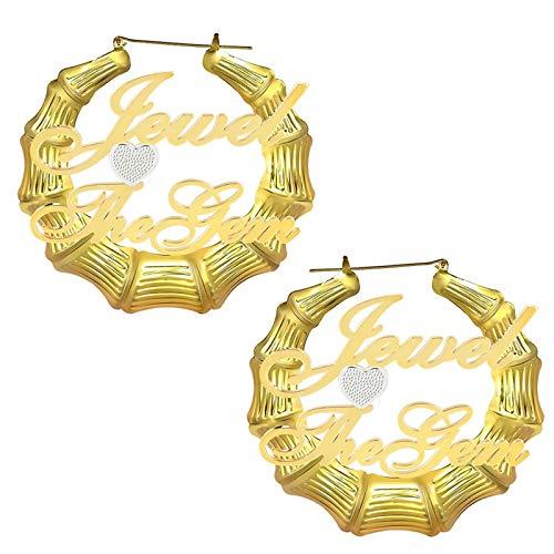 Pendientes con nombre Pendientes personalizados Pendientes con 2 nombres grabados Aro de bambú Colgante con nombre para mujer(Oro 2.36)