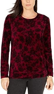 Floral Printed Velour Sweatshirt