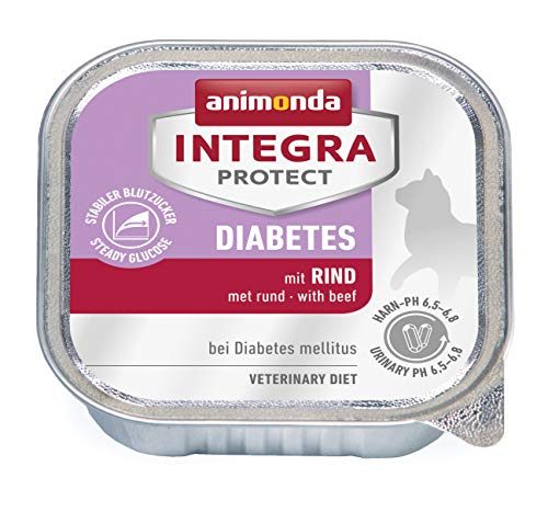 animonda Integra Protect Diabetes Katze, Diät Katzenfutter, Nassfutter bei Diabetes mellitus, mit Rind, 16 x 100 g