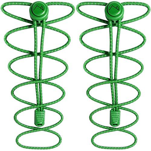 CampTeck U6604 Schnürsenkel mit Schnellverschluss, Elastische Schnürsenkel mit Schnellschnürsystem - Grün - 1 Paar
