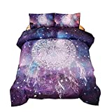 Holawakaka Bohemian Galaxy Dream Catcher Comforter Set Kids Teens Mandala Bedding Quilt Queen Size +2X Pillowcases