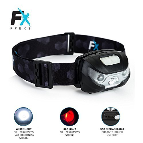 Head Torch LED Headlight Super Bright Premium USB Rechargeable Headlamp with Waterproof Design - White & Red Light 5 Modes Comfortable Headtorch for Running Camping Hunting - Powerful Beam Kids Adults