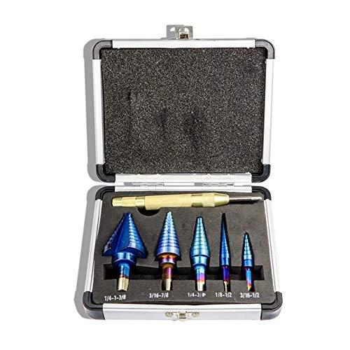 LIAIJU-AIJU 6Pcs 1/8inch-1-3/8inch Blue Coated Step Drill Bit with Center Punch Set Hole Cutter Drilling Tool Step Drill Bit Set Triple-cornered Shank Pagoda Drill Drill Bit Set
