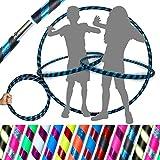 Flames 'N Games Hula Hoops de Kid - ¡Hula Hoops para niños de Calidad ponderada! ¡Ideal para Hacer Ejercicio, Bailar, Hacer Ejercicio y divertirse! Mismo día de despacho.! (Negro/Azul Rutilar)