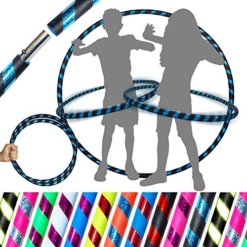 Flames N Games Pro Kids Hula Hoop Reifen für Kleine Erwachsene und Kinder (10 Farben Ultra-Grip/Glitter Deco) TRAVEL Hula Hoop ideal für Dance, Fitness, Festivals & Fun! (Schwarz/ Blau Glitter)