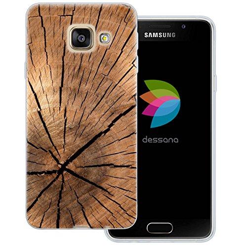 dessana Holz Maserung Transparente Silikon TPU Schutzhülle 0,7mm Dünne Handy Tasche Soft Case für Samsung Galaxy A3 (2016) Pinien Holz