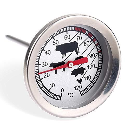 Schramm® Fleisch Thermometer Temperaturmesser in schwarz oder silber Bratenthermometer aus Edelstahl Grillthermometer Ofenthermometer, Farbe:Silber