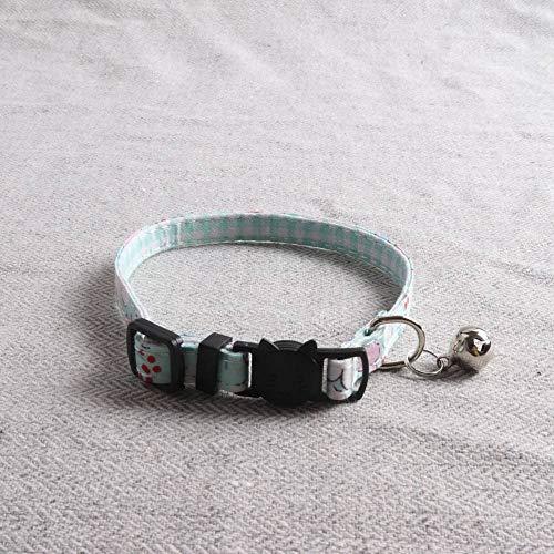 Hondenhalsband, groene kat bow tie frisse kleine landelijke wind met klok gentleman zachte veilige hond halsband voor alle seizoenen ademende gewatteerde gezellige lichte outdoor muur, 1.0*28CM