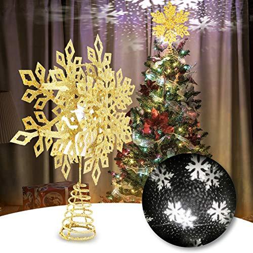2020 Weihnachtsschneeflocken Baumkronenstern, 3D Schneeflocke Ornamente LED Projektionslichter Schneefallende Dekorationen Beleuchtung für Festival, Weihnachtsbaum